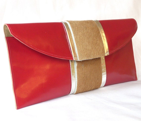 SALE Red leather and cowhide clutch - FREE SHIPPING