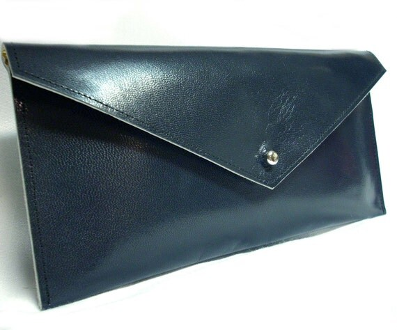 SALE Navy blue clutch with gold lining w/ free shipping