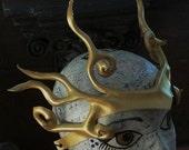 Gold Mermaid leather head ornament, headdress by faerywhere