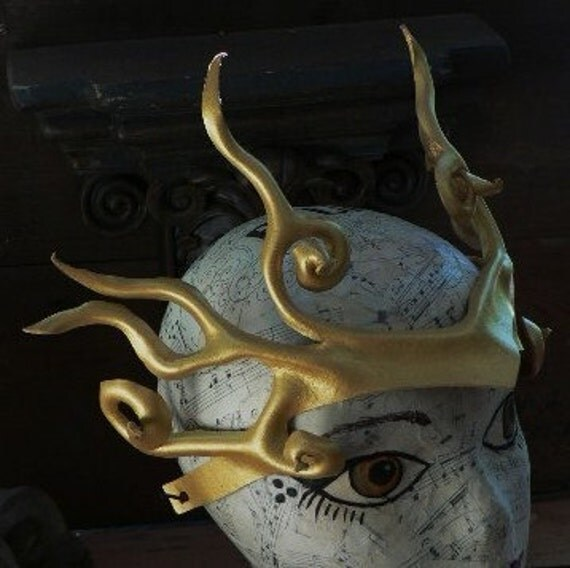 Valkarie  leather head ornament in gold by faerywhere