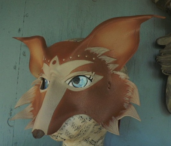 Fox mask, leather mask inspired by Amy Brown, made by Faerywhere