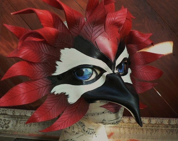 Woodpecker, leather bird mask by Faerywhere
