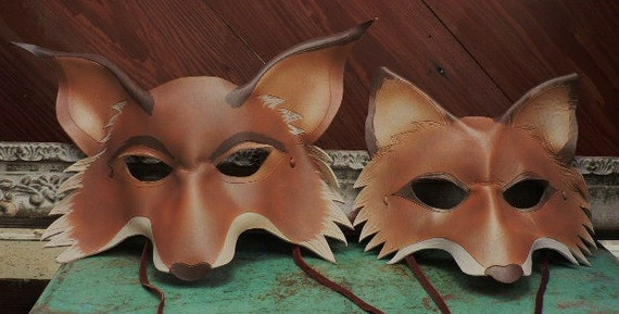 Mr and Mrs fox masks, leather masks for two, couple theme costume