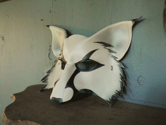 Silver Fox, white wolf leather mask