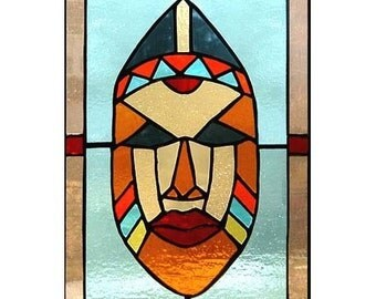 Tribal Mask Stained Glass Panel
