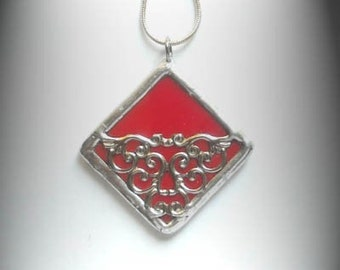 Red Stained Glass Filigree Pendant