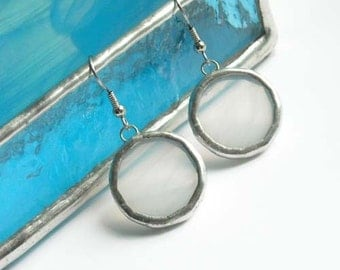 White Stained Glass Earrings