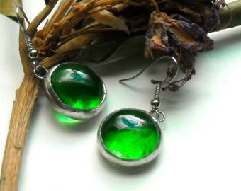 Green Glass Jewel Earrings