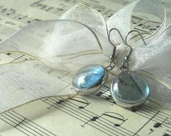 Light Blue Glass Jewel Earrings