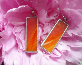 Orange Opaque Stained Glass Earrings