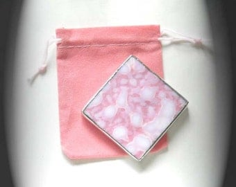 Pink And White Stained Glass Pocket Mirror