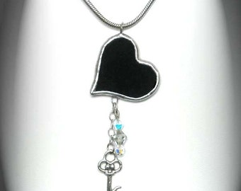 Black Heart Stained Glass Pendant