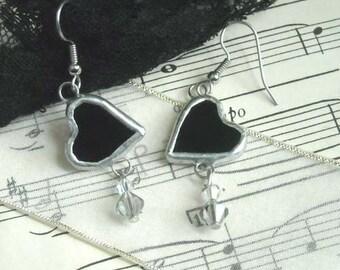 Black Heart Stained Glass Earrings