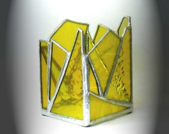 Yellow Stained Glass Candle Holder