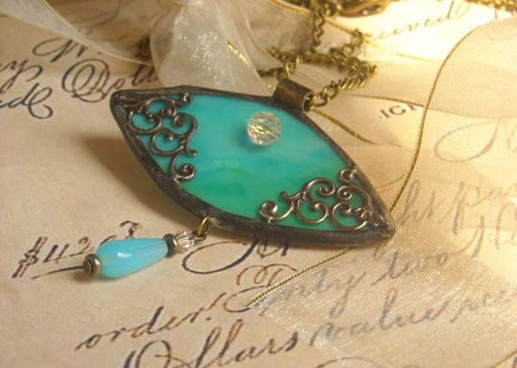Aqua Victorian Inspired Stained Glass Pendant