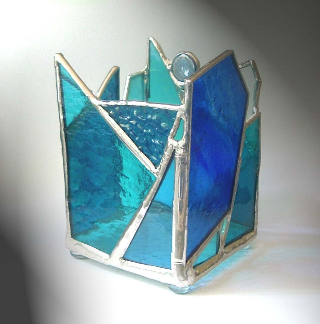 Blue stained glass candle holder