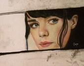 Rearview Mirror  (a portrait of Jenny Lewis)  8.5 X 11 print by Caryn Cast