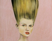 """Big Haired Woman, """"Up'do"""" postcard by Caryn Cast"""