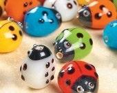 Ladybug lampwork beads