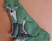 Iron On Patch - Sew On Patch Fox Applique in Moss Green Felt