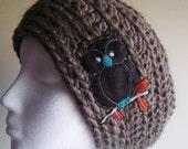 Cocoa Owl Slouchy Hat - winter hat - accessories - crochet hat - brown yarn