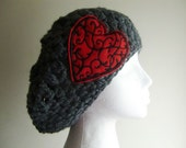 Gray Crocheted Slouchy Beanie Hat with Red Heart Patch Applique