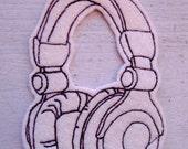 Headphones Iron on Patch Applique - music patch - band patch - cream felt patch - earphones applique - dj equipment