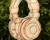Headphones iron on patch applique - badnd patches - dj equipment - felt headphones - music patches - patches for jackets - cute patches