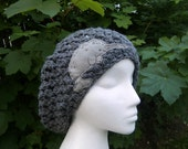 Gray Crochet Slouchy Hat with Narwhal Patch Applique