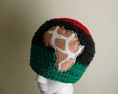 Red Black and Green Winter Hat with Africa Map Applique