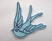 Swallow iron on patch applique in baby blue felt - bird patch - blue and navy patch - patches for jackets - wing patches