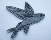 Flying Fish Embroidered Iron on Patch Applique
