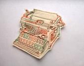 Typewriter iron on embroidered patch applique in cream, vintage typewriter, sew on typewriter