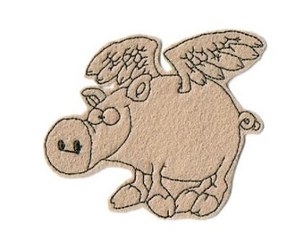 Iron On Patch - Sew on Patch - Pig Patch - When Pigs Fly Patch
