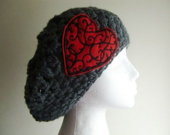 Gray Crocheted Slouchy Beanie Hat with Red Heart Sew on Patch, women hat, gray hat
