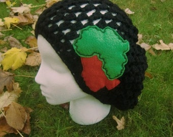 Black Slouchy Hat With African Lady Cameo Applique - africa - black women - sew on patches - patches for hats - cute patches
