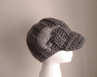 Gray cable knit hat with narwhal patch - mens hat - womens hat - grey cable knit hat - grey beanie with brim hat with visor gray cable beret