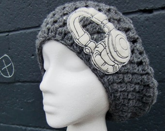 Crochet pattern hat - Headphones Are For Girls Crochet Slouchy Hat in Gray Yarn - grey hat - headphones patch applique