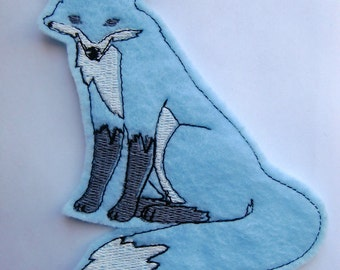 Fox Iron On Patch Applique in Baby Blue - felt fox - sew on patch - patches for jackets - patches for jeans - back patches - embroidery