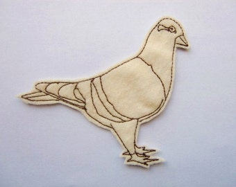 Pigeon iron on patch - bird patch - pathces - patches for jackets - embroidered patch - felt patch - iron on patches - DIY - pigeon