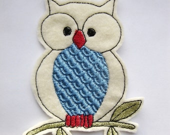 Iron On Patch Applique Blue Bellied Owl, patches for jackets, owl patch, owl applique