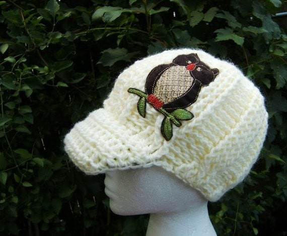 items similar to womens hat owl hat with brim beanie
