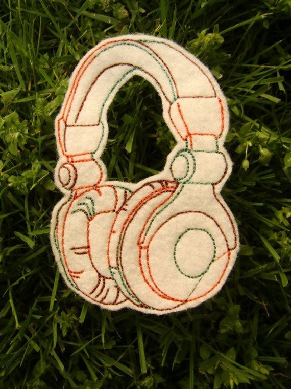 Headphones Iron On Patch Applique in Cream Felt and Autumn Embroidery Thread