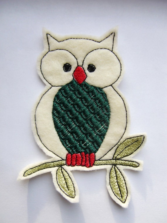 Iron On Patch Green Bellied Owl Applique