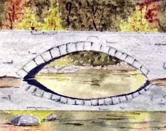 ORIGINAL PAINTING: Mini Forest Bridge Watercolor Painting