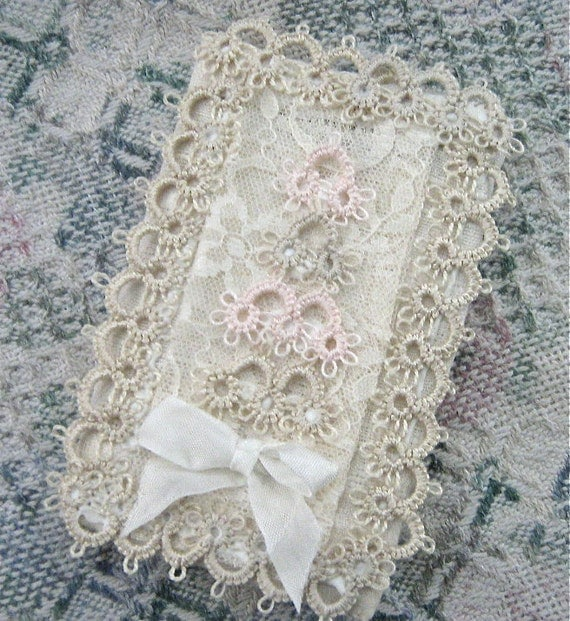 Tatted and Vintage Lace Notebook Removable Cover cssteam
