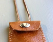 Light Brown Mini Leather Pouch Necklace