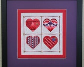 Red and Purple Beaded Four Heart Sampler