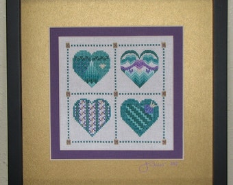 Teal and Purple Beaded Four Heart Sampler