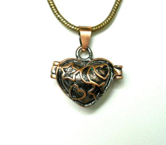 Antiqued Copper Heart Prayer Box Charm Pendant